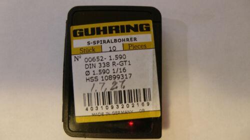 "Guhring Drill 0.1590"" 1.59mm 1/16"" Style 652 (9pcs)"