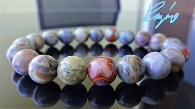 """Natural Grey Agate Bead Bracelet from MOROCCO for Men Stretch 10mm - 8"""" inch AAA"""
