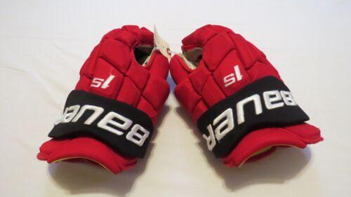 "Used Andy Greene Bauer Supreme 1S Pro Stock NJ Devils 14"" Hockey Gloves! NHL"
