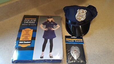 Halloween Costume law enforcement police dress, hat & badge, child size 10 - Law Costumes Halloween