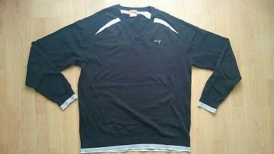 Puma Golf Pullover Herren Gr. L 52 Schwarz V-Ausschnitt Baumwolle  ()