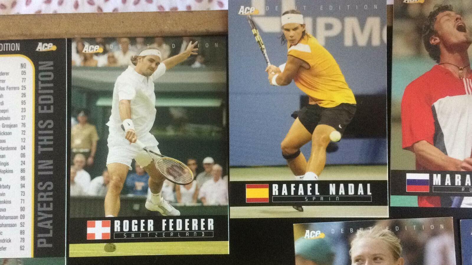 Tennis ace authentic 2005 - 98 cards roger federer rafael nadal agassi sharapova