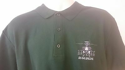 Army Air Corps Ah 64 Apache Helicopter Polo Shirt