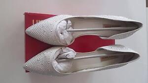 "Diana Ferrari ""Tahnee"" ivory satin and stone heel, size 11 Westmead Parramatta Area Preview"