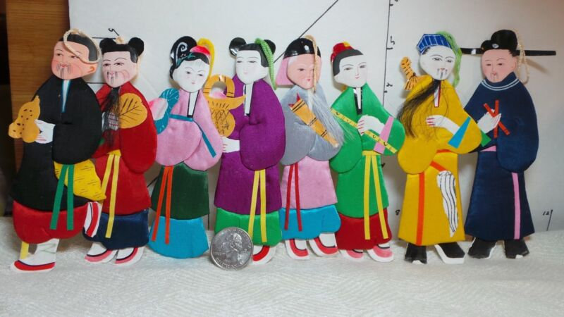 Asian Ornaments, Paper Dolls,With Colorful Fabric Costumes, Paper Backs & Feet