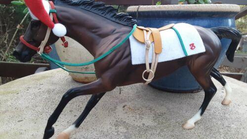 Custom race saddle set Christmas colors for breyer model horse saddle bridle