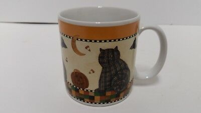 Debbie Mumm Sakura Halloween 1998 Coffee Mug Plaid Cat