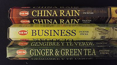 - China Rain Business Ginger & Green Tea 60 HEM Incense Sticks 3 Scent Sampler Set