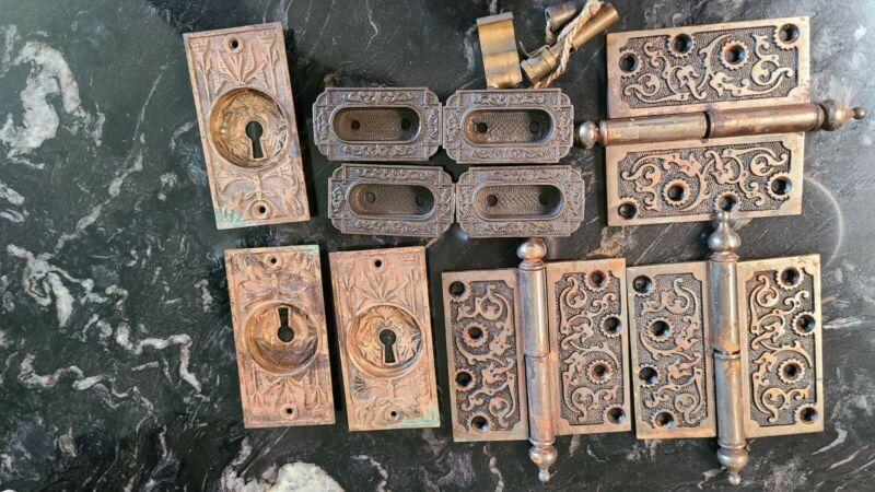 Vintage Victorian Art Deco Hinges Door Pulls Plates Architectural
