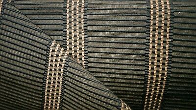 3Y GORGEOUS DURALEE TESSA RIBBED STRIPE BLACK COCOA JACQUARD UPHOLSTERY FABRIC