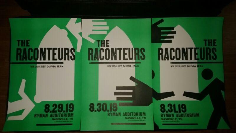FULL SET 2019 RACONTEURS Ryman HATCH SHOW PRINT Nashville Poster Jack White (x3)