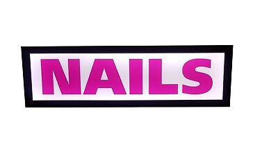 Nails Sign. Led Light Box Sign  - 12x40x1.75 Inch