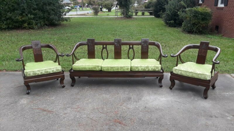 STUNNING! ANTIQUE CHINESE HORSESHOE BACK CARVED 3 PIECE SET CHAIRS & SETTEE