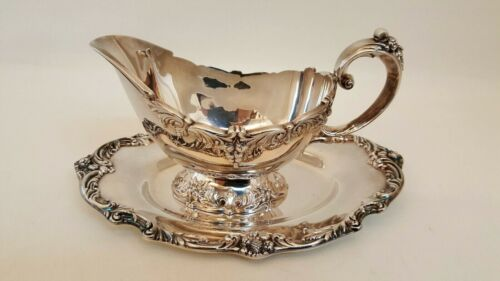 REED & BARTON KING FRANCIS GRAVY SAUCE BOAT AND UNDERPLATE 4 1673