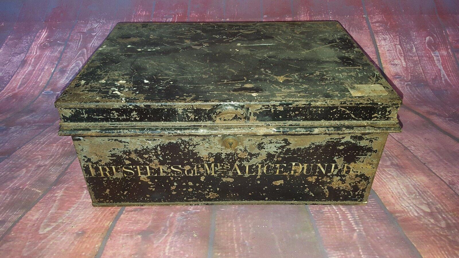 Vintage Metal Deed Document Box Storage Display Money Box Handles Prop
