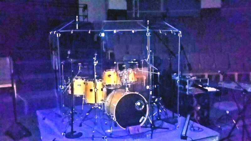 DS7D Drum Shield with Deflectors 7 Ft Tall, CHROME Hinges