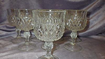 Vintage Clear Diamond Point Wine Glasses by Indiana Glass Company 8 7 oz stems