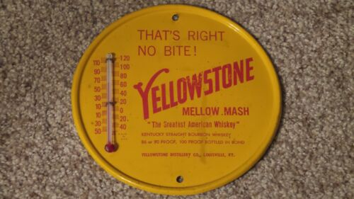 Vintage Yellowstone Distillery Co. Metal Advertising Thermometer Louisville, KY
