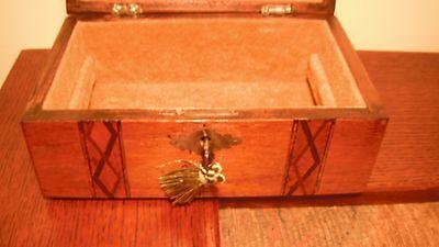 Victorian Walnut Jewelry Box with Key & Fantastic Interior!