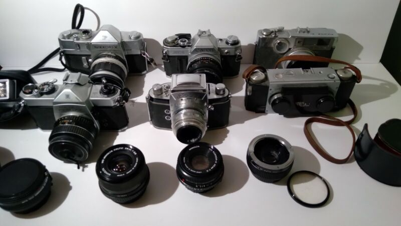 Vintage Canon, Minolta, Pentax, Stereo Realist, Exa, Camera + Lens Lot UNTESTED