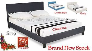 Top Quality FABRIC Queen bed frame. Charcoal, Denim Blue, Beige Brisbane City Brisbane North West Preview