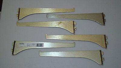 Lot Of 6 Heavy Duty Unitrak 10 Brass Metal Shelf Shelving Brackets Uni-trak