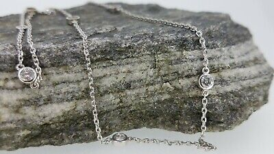 14k White Gold 1.05ct TW Diamond By The Yard 7 Station Necklace 16