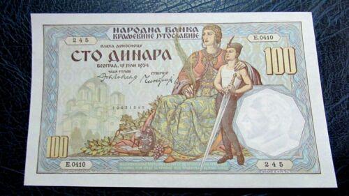 YUGOSLAVIA 100 DINARA 1934 unc