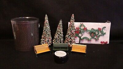 Dept 56 Heritage Village Collection Lot Benches Wax Trees Wreaths Garland Clock Department 56 Heritage Village