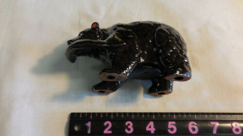 vintage Bear With Fish Money Coin Bank Statue Figurine-JAPAN