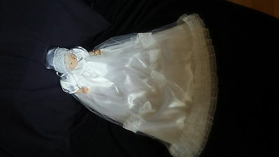 (Baby Girl Satin Tulle & Lace Christening Gown Baptism Dress 0-3 3-6 6-12 M)