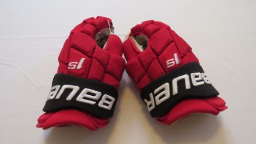 """Used Andy Greene Bauer Supreme 1S Pro Stock NJ Devils 14"""" Hockey Gloves! MeiGray"""