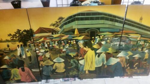 Vietnam Thanh Le lacquer Life in Vietnam Market Place 4 panels