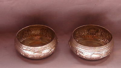 PAIR ANTIQUE TIBETIAN SILVER RELIEF BOWLS DEPICTING A VILLAGE SCENE ,MARKED