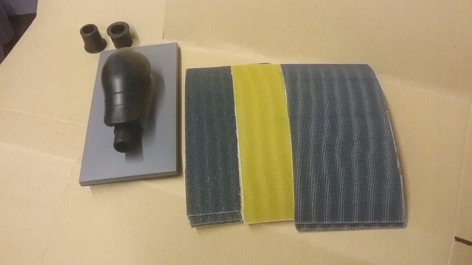 115 x 230mm Hand Sanding Block Starter Kit Mesh Strips P80 P180 & P320 Packs (5)