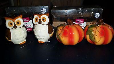 NIB 2 Sets BETTER HOMES Fall Forest Owls Pumpkins Ceramic Salt Pepper Halloween