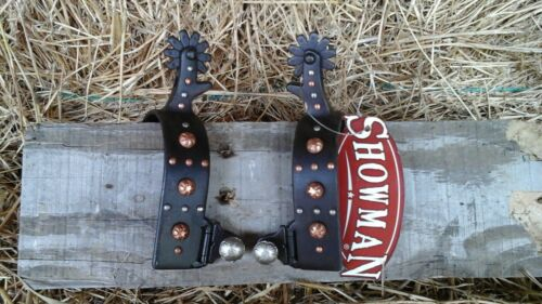 Showman ABR, Western steel spur w/engraved copper studs & silver dots # 257021Q