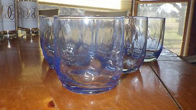 9 Ounce Juice Glasses (Blue Juice Glasses Swirled Optic Panel Bowls contoured bottom 6 9oz glasses )