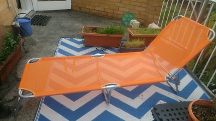 Orange Outdoor Foldable Banana Reclining Lounge Chair