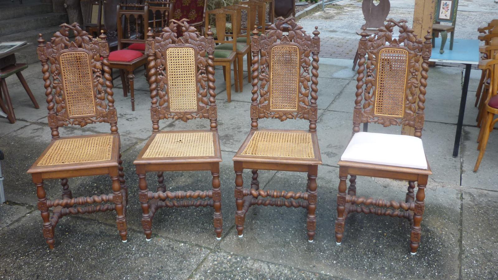 4 Alte Antike Stühle Gründerzeit Hochlehner Säulen Geflecht Schnitzerei