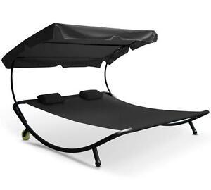Double Hammock Swing Frame Garden Outdoor Sun Lounger Bed Beds Canopy w/ Pillows