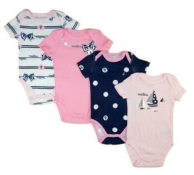 Nautica Infant Girls Pink & Multi 4 Pack Bodysuits Size 0/3M 3/6M 6/9M $42