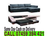Fabric Corner Sofa Settee Bed in Black/Grey or Brown/Beige color with Leather effect