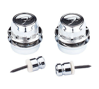 "Genuine Fender ""F"" Logo Guitar Straplocks Set Pair - CHROME (FSLC1)"