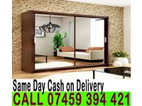 A 2 Door Sliding Mirrored Wardrob with Full Glass in Black, Brown Oak White Walnut- Brand New