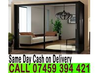 A Berlin 2 Door Sliding Mirrored Wardrob- Brand New in White Oak Black Wenge Walnut colors