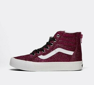 Junior Vans SK8-Hi Zip Glitter Pink/White Trainers (SF1) RRP £46.99