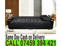 FABRIC STORAGE SOFA BED, 3 SEATER SLEEPER LEATHER SETTEE
