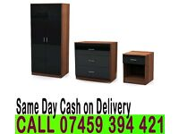 A High Gloss Set with 2 Door wardrob, chest of drawer+ bedside- Brand New