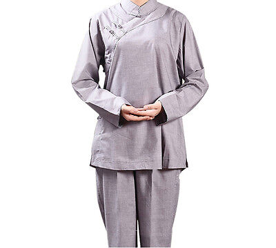 Womens Shaolin Monk Clothes Lay Buddhists Meditation Uniforms Temple Monk Robes - Monk Clothes